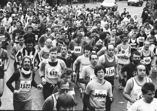 Images of Yesteryear. Photograph from January 1988. The Morpeth to Newcastle road race gets underway.